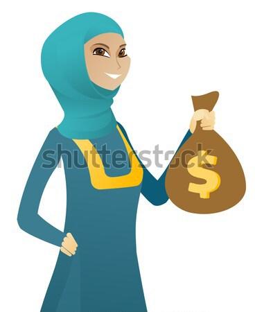 ázsiai üzletasszony tart pénz táska mutat Stock fotó © RAStudio