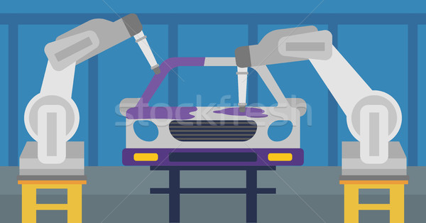 Robotic arm painting car in a production line. Stock photo © RAStudio