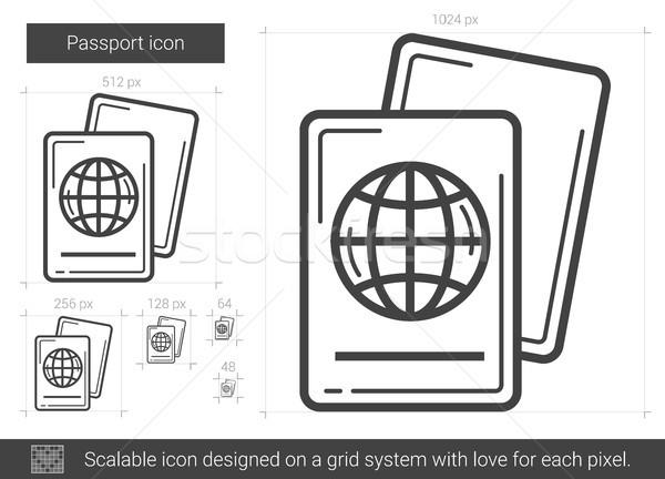 паспорта линия икона вектора изолированный белый Сток-фото © RAStudio