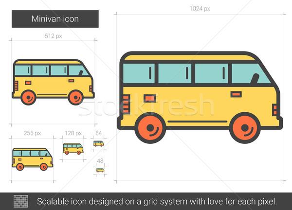 Mikrobusz vonal ikon vektor izolált fehér Stock fotó © RAStudio