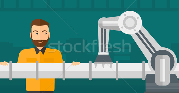Refinery worker and robotic arm repairing pipeline Stock photo © RAStudio