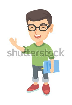 Caucásico colegial teléfono celular libro de texto sonriendo Foto stock © RAStudio