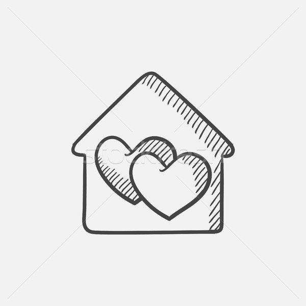 House with hearts  sketch icon. Stock photo © RAStudio