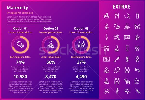 Kismama infografika sablon elemek ikonok testreszabható Stock fotó © RAStudio