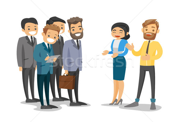 Caucasian delegates networking during conference. Stock photo © RAStudio