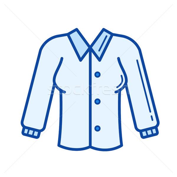 блузка линия икона вектора изолированный белая блузка Сток-фото © RAStudio