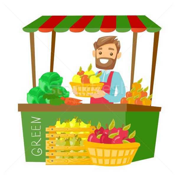 кавказский улице продавец плодов овощей молодые Сток-фото © RAStudio