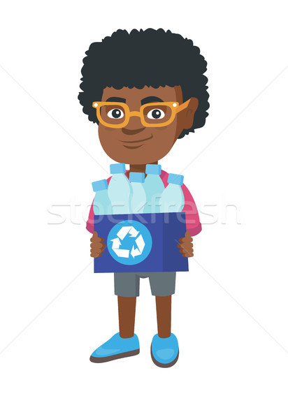Boy holding recycling bin full of plastic bottles. Stock photo © RAStudio