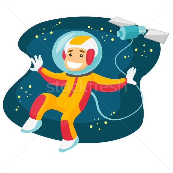 Kafkas beyaz astronot uçan açmak uzay Stok fotoğraf © RAStudio