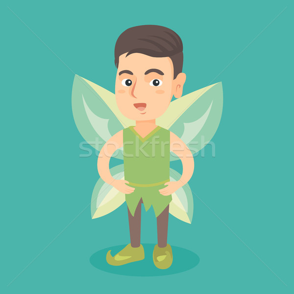 Caucasian fairy boy with green butterfly wings. Stock photo © RAStudio