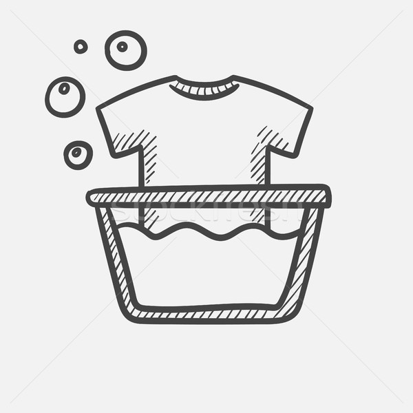 T-shirt in basin with foam hand drawn sketch icon. Stock photo © RAStudio