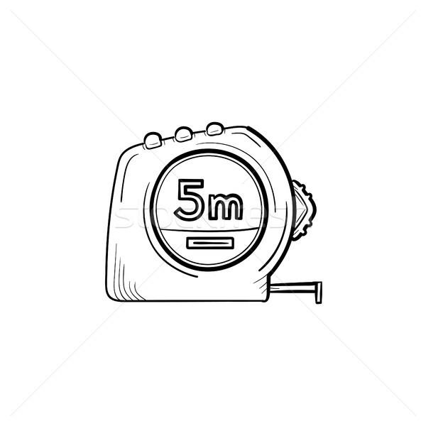 Mérőszalag kézzel rajzolt rajz ikon skicc firka Stock fotó © RAStudio