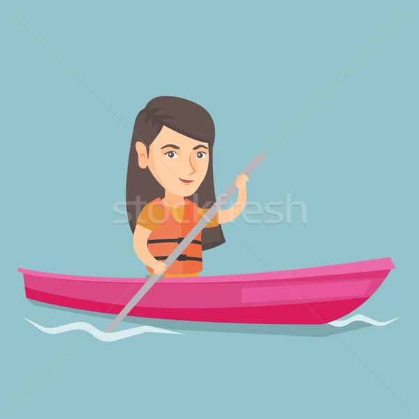 Foto stock: Jóvenes · caucásico · mujer · kayak · viajero