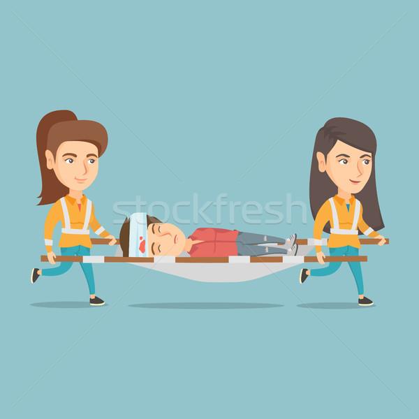 Stock fotó: Vészhelyzet · orvosok · hordoz · nő · kaukázusi · áldozat