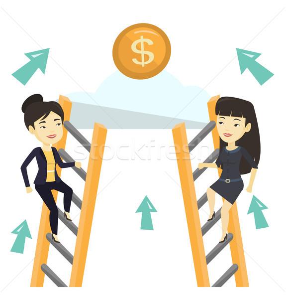 Kettő üzlet nők versenyző pénz versenyképes Stock fotó © RAStudio