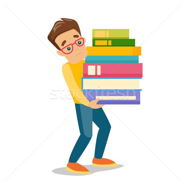 Ciężki książek młodych Zdjęcia stock © RAStudio