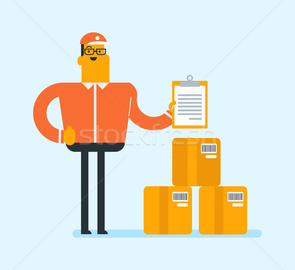 Young delivery man checking parcel with the list. Stock photo © RAStudio