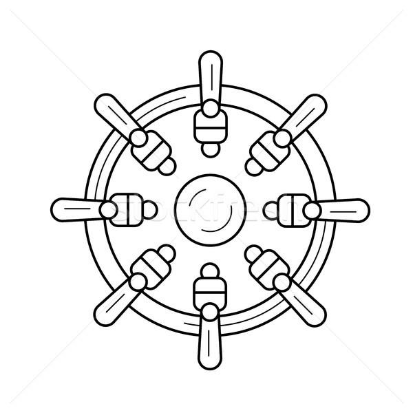 Nautical wheel line icon. Stock photo © RAStudio