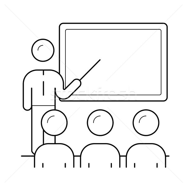 Presenter at business presentation line icon. Stock photo © RAStudio