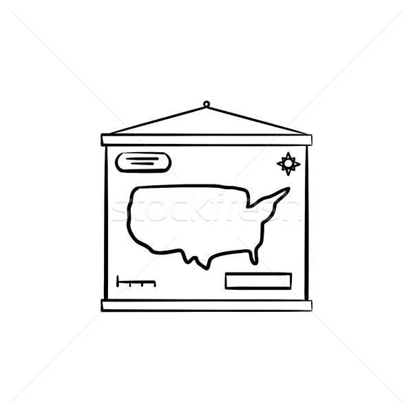 Мир карта рисованной эскиз икона болван Сток-фото © RAStudio