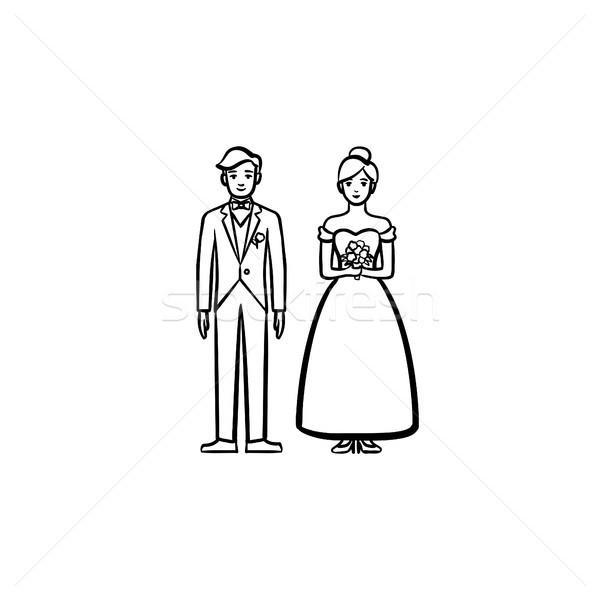 Bride and groom hand drawn sketch icon. Stock photo © RAStudio