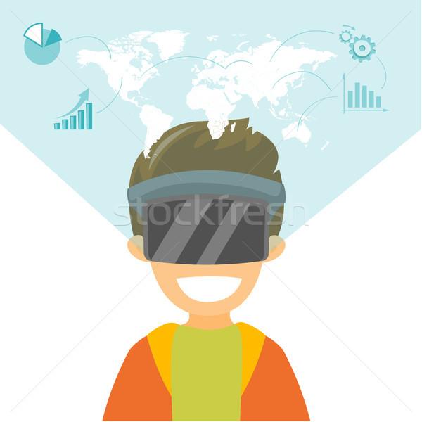 A white man in virtual reality headset. Stock photo © RAStudio