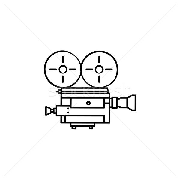 Retro video camera hand drawn outline doodle icon. Stock photo © RAStudio