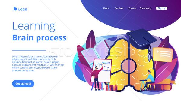 Learning and brain process landing page. Stock photo © RAStudio