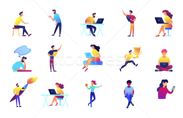 IT specialists and designers vector illustrations set. Stock photo © RAStudio