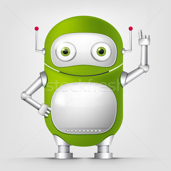 Rajzfilmfigura android izolált fehér vektor boldog Stock fotó © RAStudio