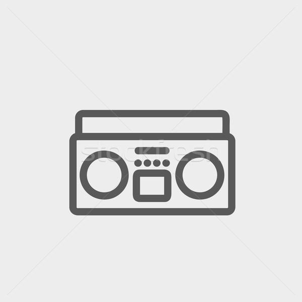 кассету игрок тонкий линия икона веб Сток-фото © RAStudio
