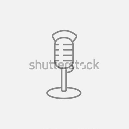 Aire micrófono delgado línea icono web Foto stock © RAStudio