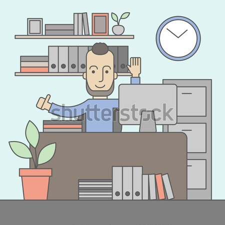 Happy caucasian businessman raising his both hand. Stock photo © RAStudio