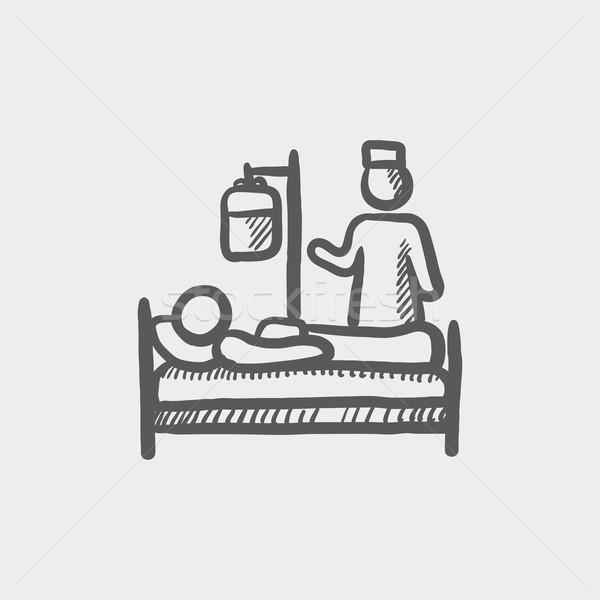 Nurse attending a sick patient sketch icon Stock photo © RAStudio