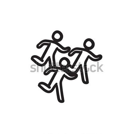 Maraton futók rajz ikon háló mobil Stock fotó © RAStudio