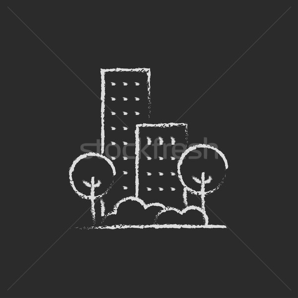 Residential building with trees icon drawn in chalk. Stock photo © RAStudio