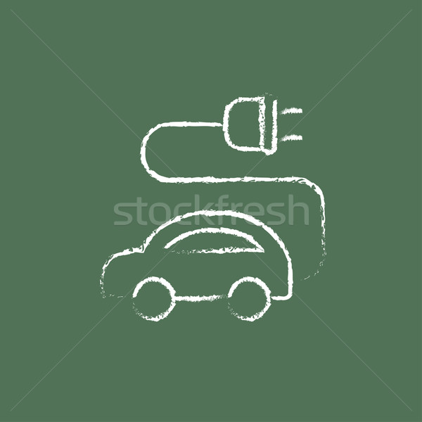 Coche eléctrico icono tiza dibujado a mano pizarra Foto stock © RAStudio