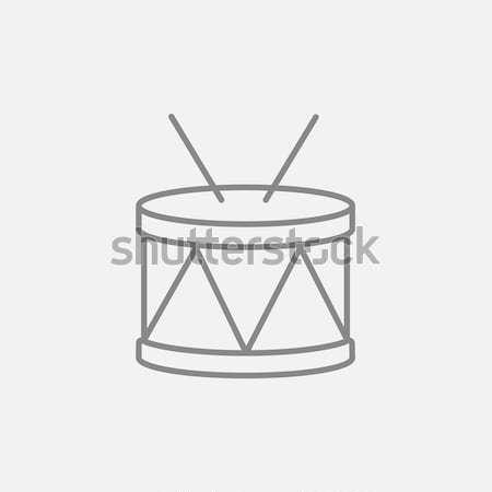 Tambor icono tiza dibujado a mano pizarra Foto stock © RAStudio