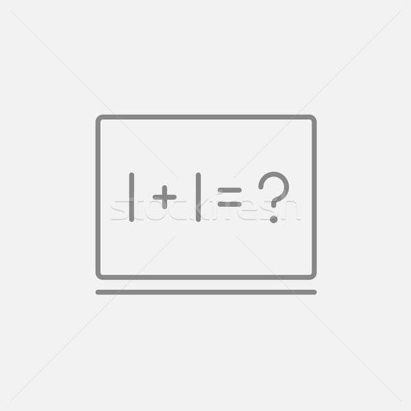 Maths example written on blackboard line icon. Stock photo © RAStudio