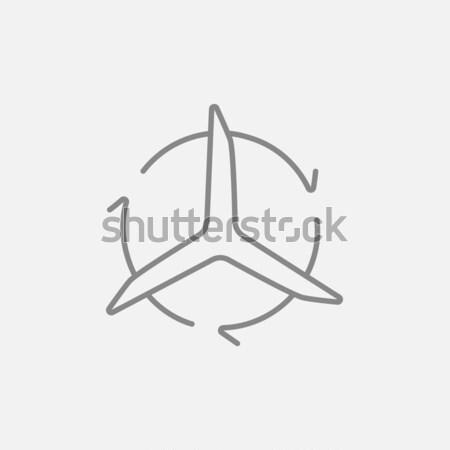 Windmill with arrows line icon. Stock photo © RAStudio