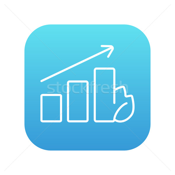 Bar graph with leaf line icon. Stock photo © RAStudio