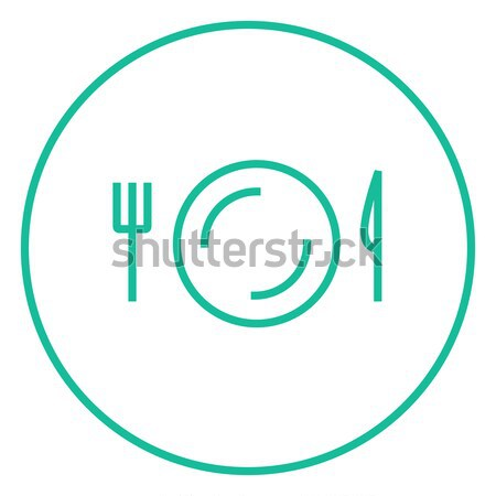 Plate with cutlery line icon. Stock photo © RAStudio