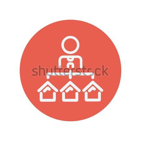 Immobilienmakler drei Häuser line Symbol Web Stock foto © RAStudio