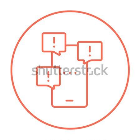 Tela sensível ao toque telefone linha ícone teia Foto stock © RAStudio
