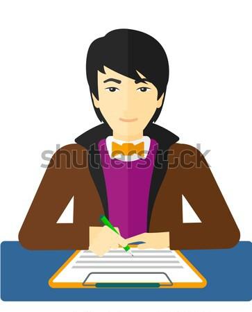 Foto stock: Homem · assinatura · contrato · sessão · tabela · vetor