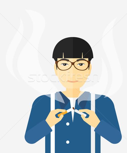 Man roken asian sigaret vector ontwerp Stockfoto © RAStudio