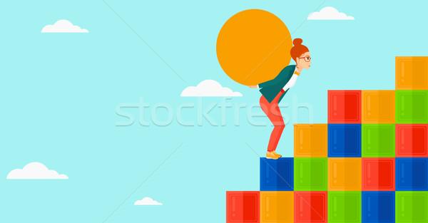 Kadın taş yorgun yukarı Stok fotoğraf © RAStudio