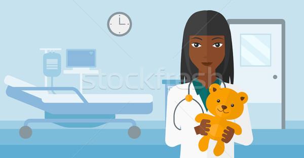 Kinderarts teddybeer ziekenhuis vector ontwerp Stockfoto © RAStudio