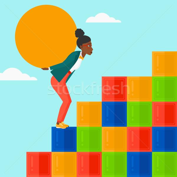 Kadın taş yukarı renkli Stok fotoğraf © RAStudio