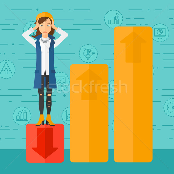 Business woman standing on low graph. Stock photo © RAStudio